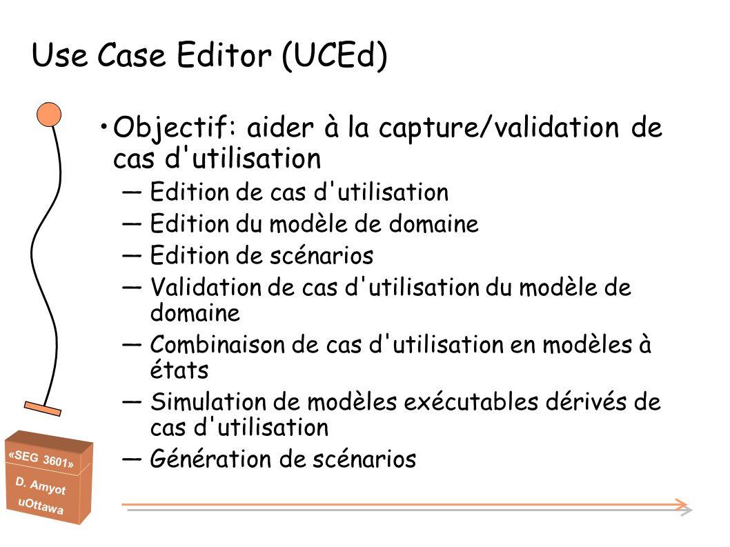 Use Case Editor (UCEd) Objectif: aider à la capture/validation de cas d utilisation. Edition de cas d utilisation.