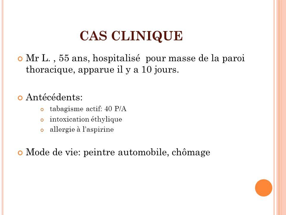 CAS CLINIQUE Mr L. , 55 ans, hospitalisé pour masse de la paroi thoracique, apparue il y a 10 jours.