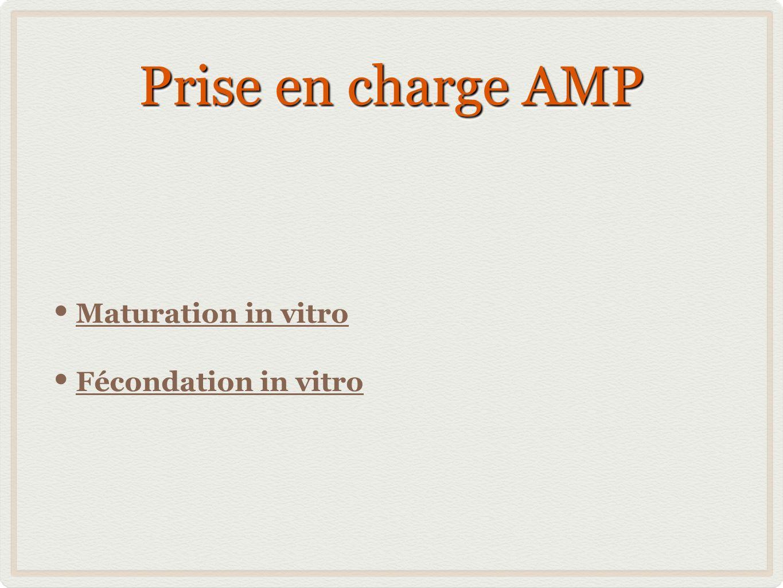 Prise en charge AMP Maturation in vitro Fécondation in vitro