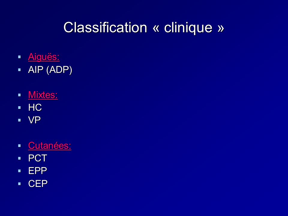 Classification « clinique »