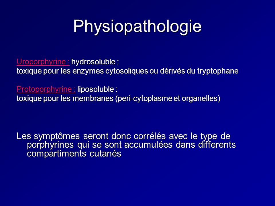 Physiopathologie Uroporphyrine : hydrosoluble : toxique pour les enzymes cytosoliques ou dérivés du tryptophane.
