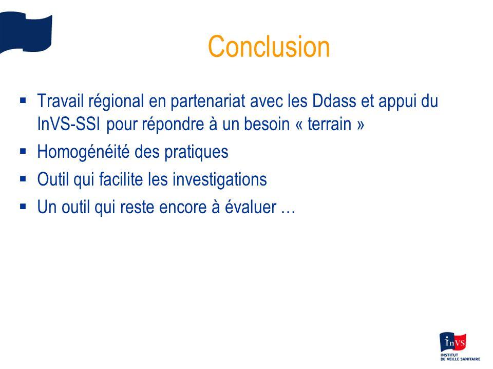Conclusion Travail régional en partenariat avec les Ddass et appui du InVS-SSI pour répondre à un besoin « terrain »
