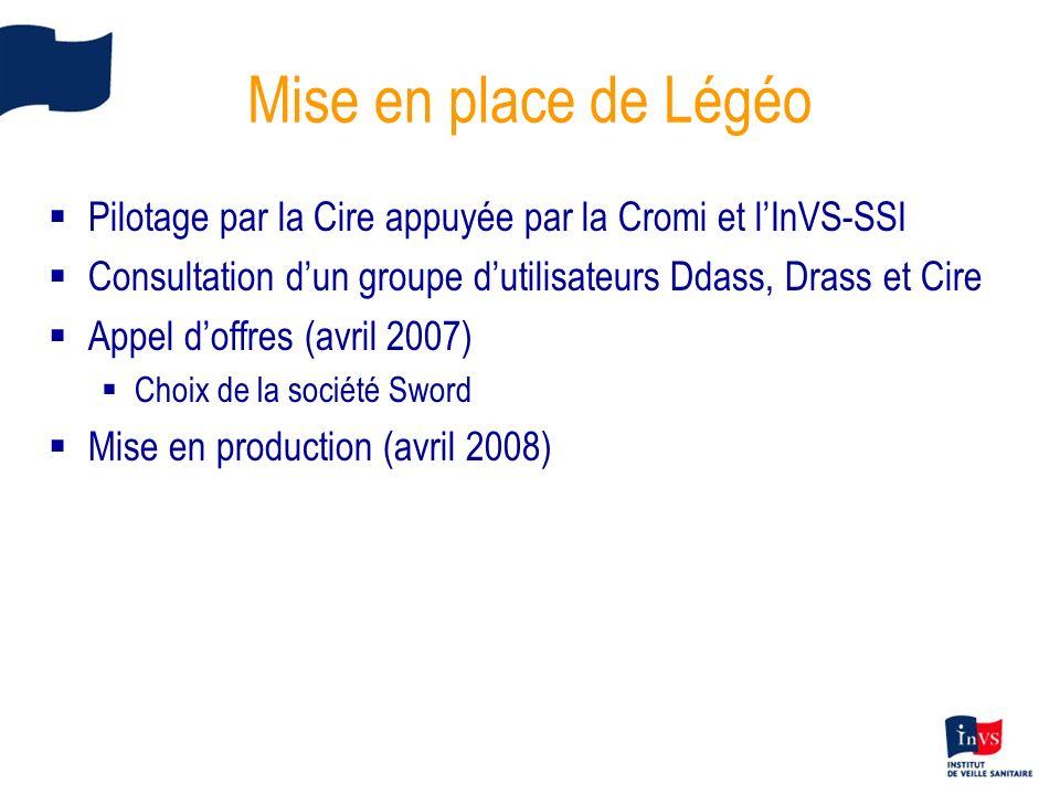 Mise en place de Légéo Pilotage par la Cire appuyée par la Cromi et l'InVS-SSI. Consultation d'un groupe d'utilisateurs Ddass, Drass et Cire.