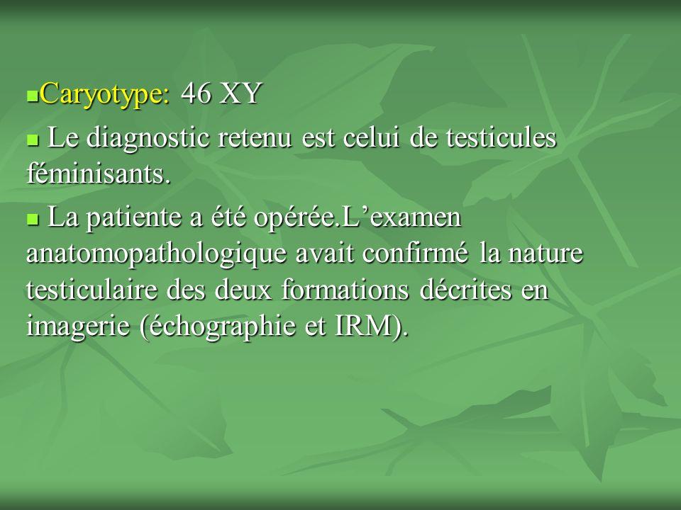Caryotype: 46 XY Le diagnostic retenu est celui de testicules féminisants.