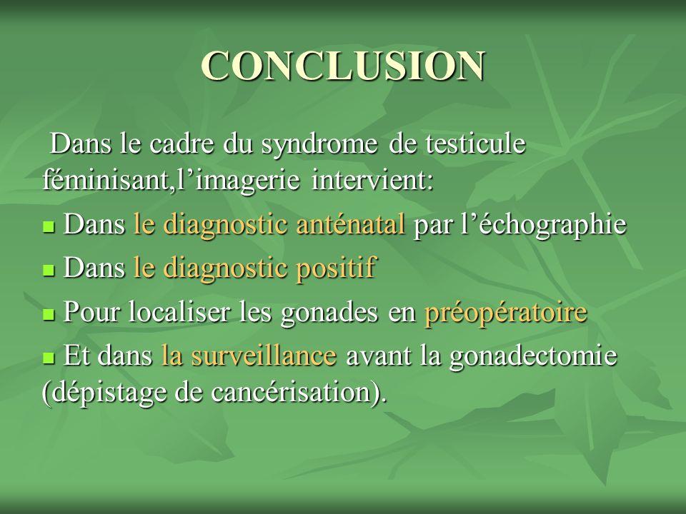 CONCLUSION Dans le cadre du syndrome de testicule féminisant,l'imagerie intervient: Dans le diagnostic anténatal par l'échographie.
