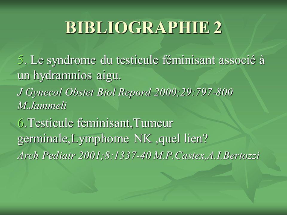 BIBLIOGRAPHIE 2 5. Le syndrome du testicule féminisant associé à un hydramnios aigu. J Gynecol Obstet Biol Repord 2000;29:797-800 M.Jammeli.