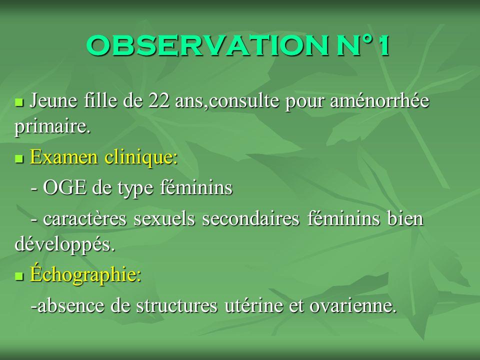 OBSERVATION N°1 Jeune fille de 22 ans,consulte pour aménorrhée primaire. Examen clinique: - OGE de type féminins.