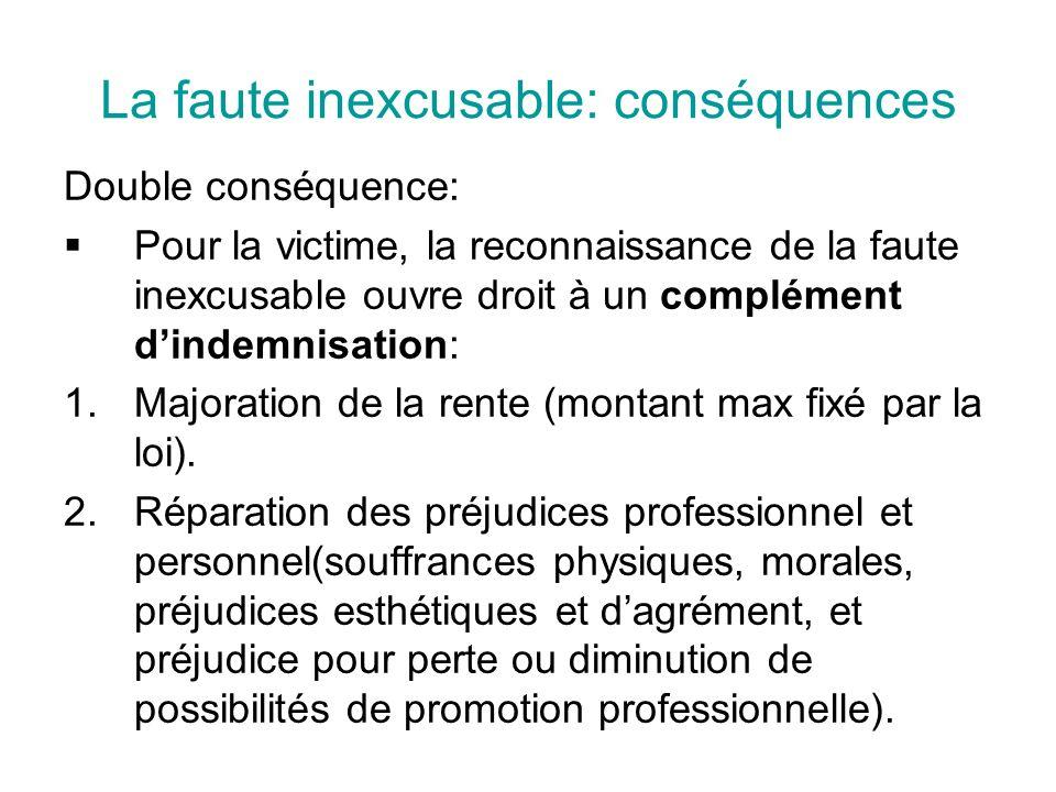 La faute inexcusable: conséquences