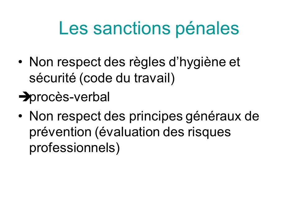Les sanctions pénales Non respect des règles d'hygiène et sécurité (code du travail) procès-verbal.