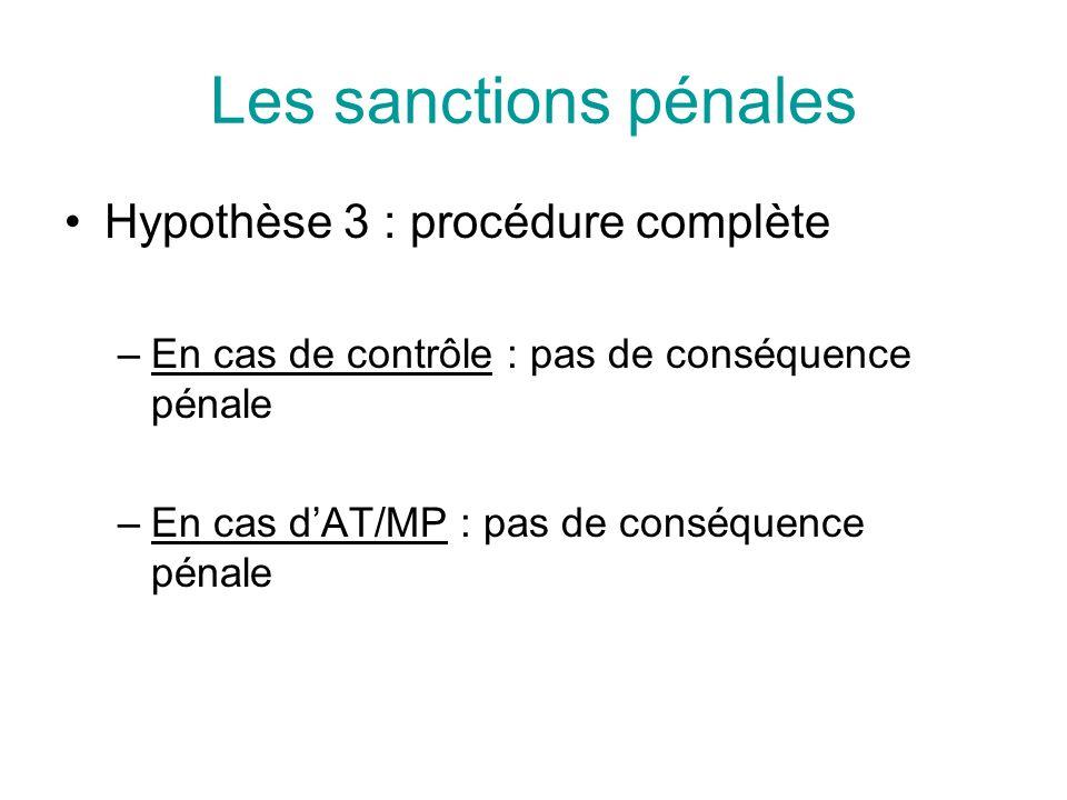 Les sanctions pénales Hypothèse 3 : procédure complète