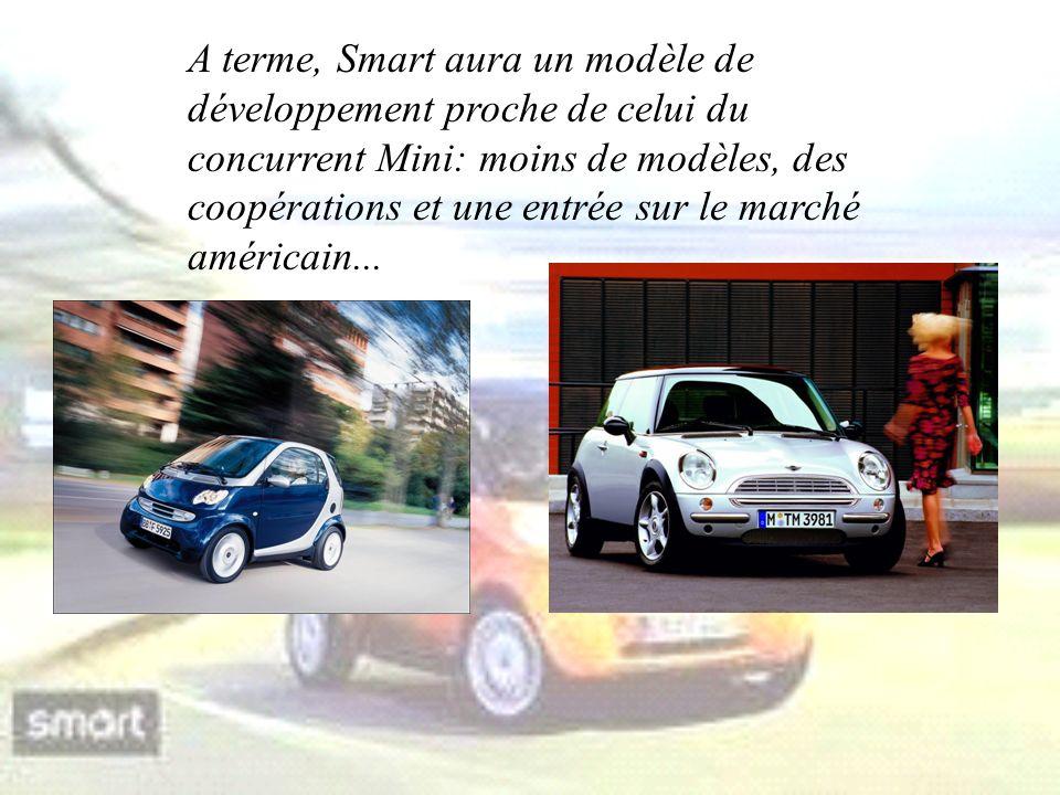 A terme, Smart aura un modèle de développement proche de celui du concurrent Mini: moins de modèles, des coopérations et une entrée sur le marché américain...
