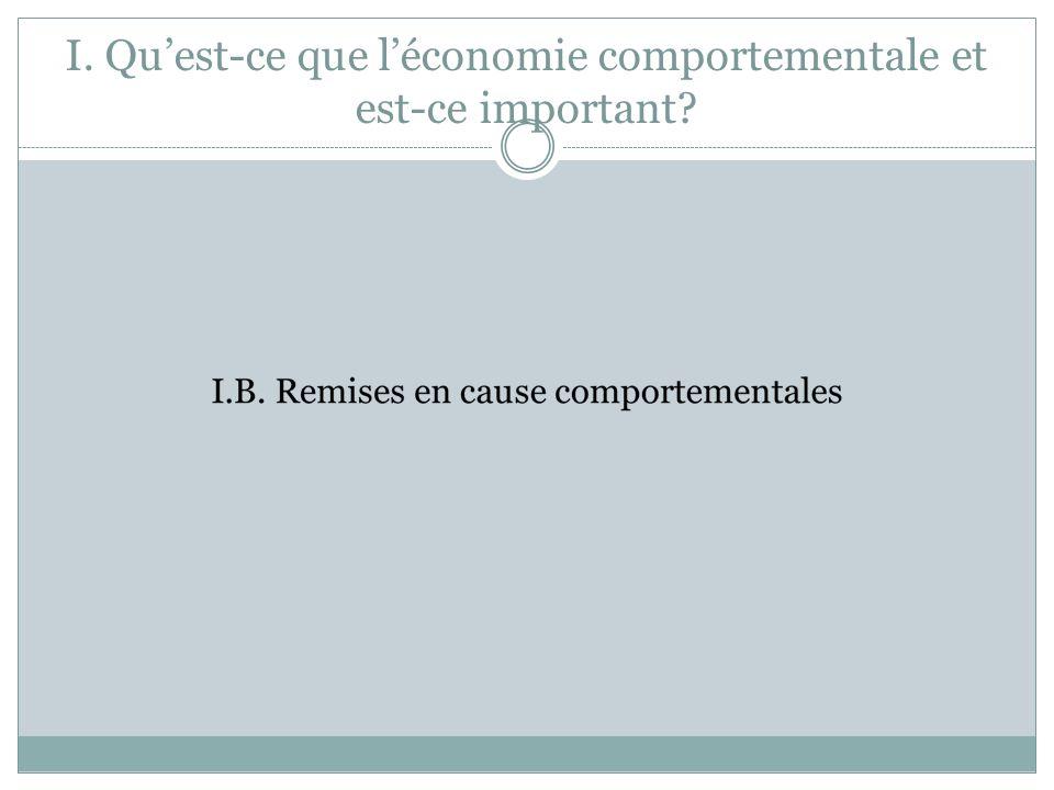 I. Qu'est-ce que l'économie comportementale et est-ce important