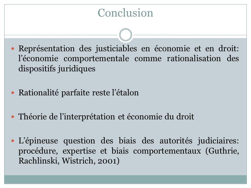 Conclusion Représentation des justiciables en économie et en droit: l'économie comportementale comme rationalisation des dispositifs juridiques.
