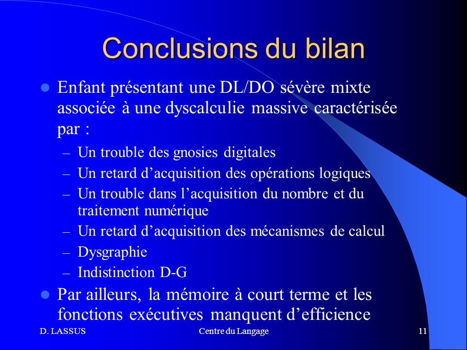 Conclusions du bilan Enfant présentant une DL/DO sévère mixte associée à une dyscalculie massive caractérisée par :