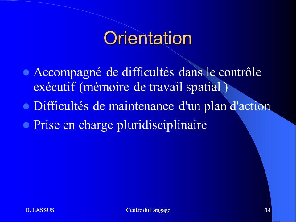 Orientation Accompagné de difficultés dans le contrôle exécutif (mémoire de travail spatial ) Difficultés de maintenance d un plan d action.