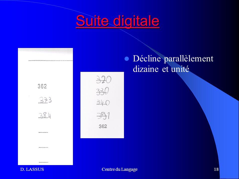 Suite digitale Décline parallèlement dizaine et unité D. LASSUS
