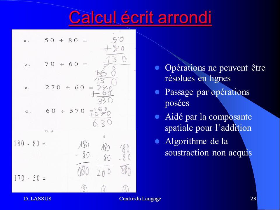 Calcul écrit arrondi Opérations ne peuvent être résolues en lignes