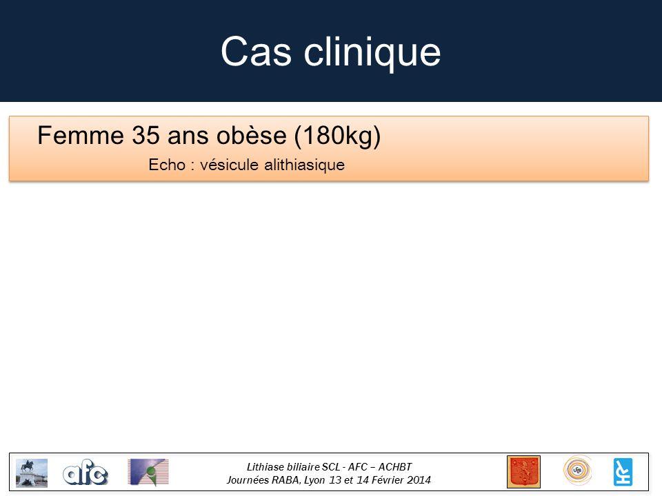 Cas clinique Femme 35 ans obèse (180kg) Echo : vésicule alithiasique