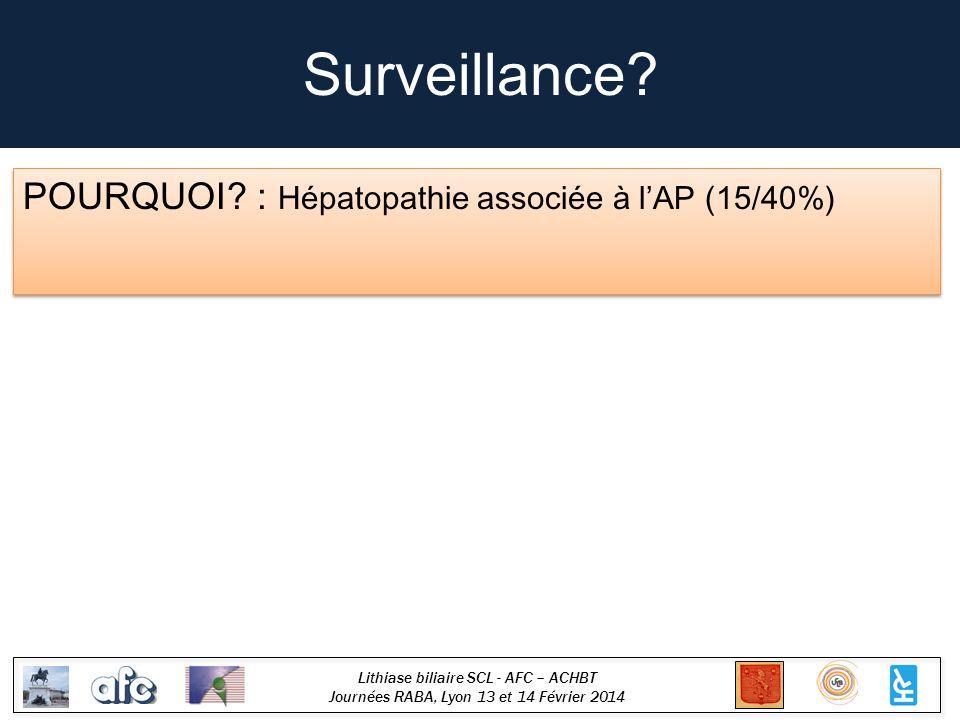 Surveillance POURQUOI : Hépatopathie associée à l'AP (15/40%)