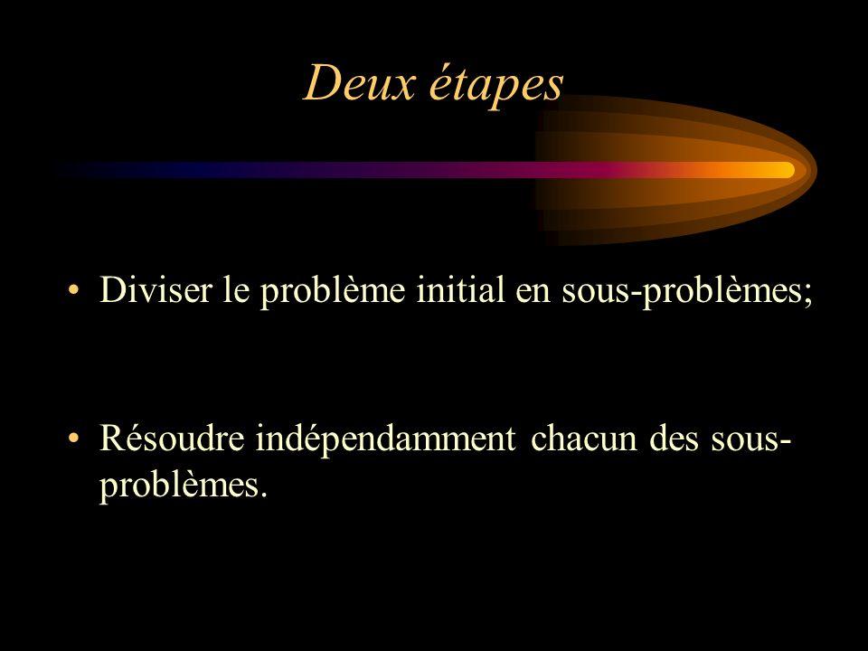 Deux étapes Diviser le problème initial en sous-problèmes;