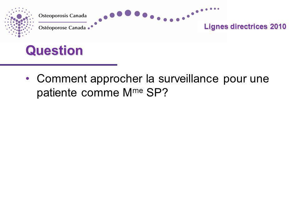 Question Comment approcher la surveillance pour une patiente comme Mme SP