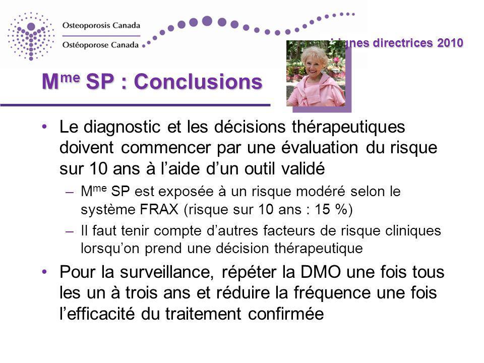 Mme SP : Conclusions