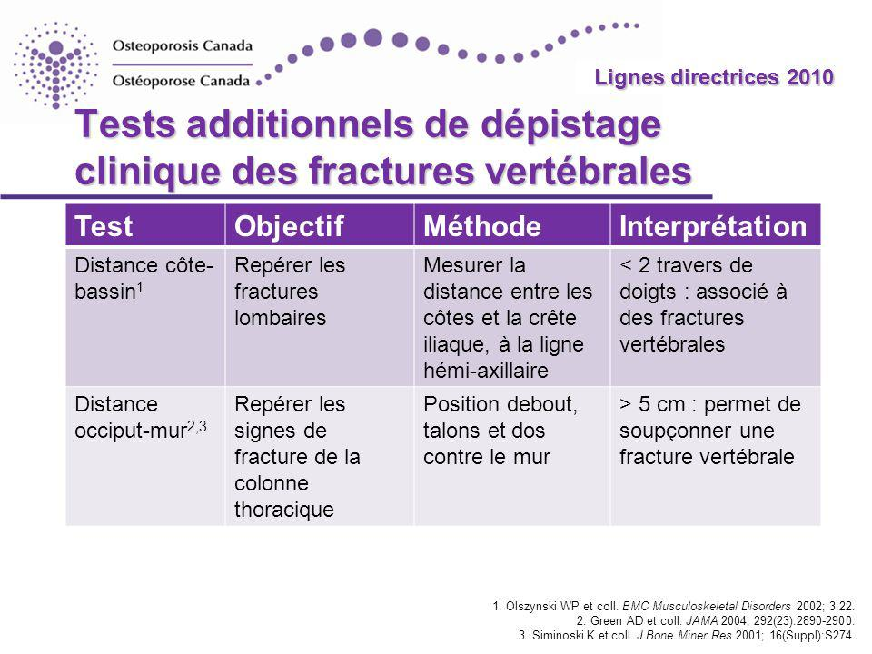 Tests additionnels de dépistage clinique des fractures vertébrales