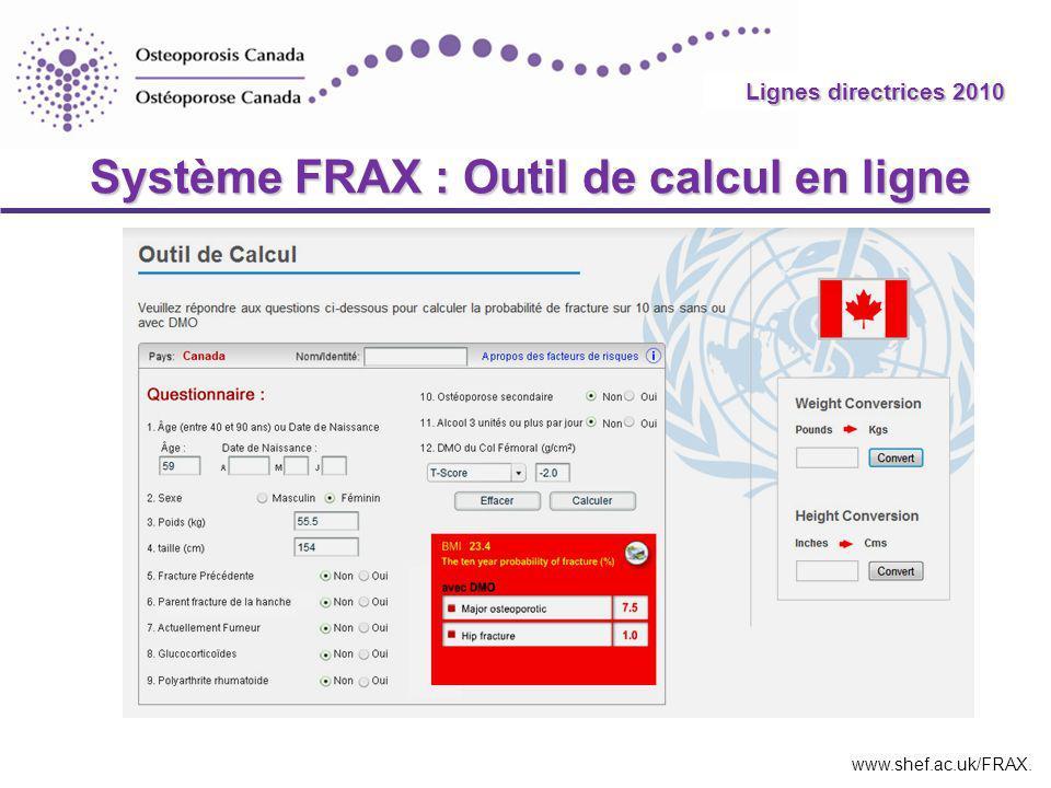Système FRAX : Outil de calcul en ligne