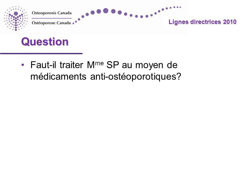 Question Faut-il traiter Mme SP au moyen de médicaments anti-ostéoporotiques