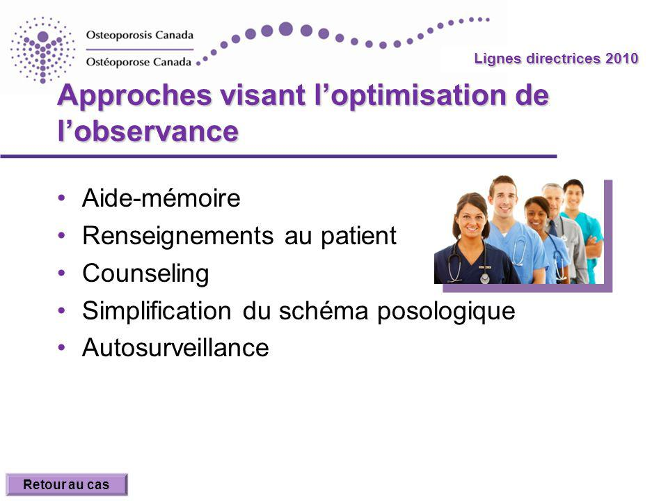 Approches visant l'optimisation de l'observance