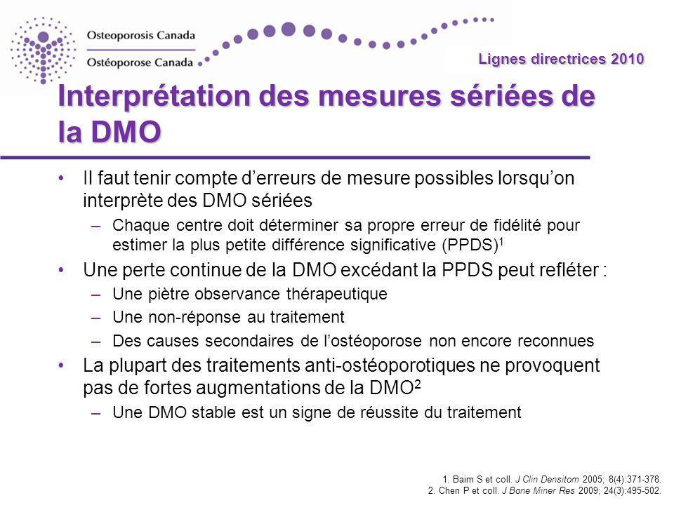 Interprétation des mesures sériées de la DMO