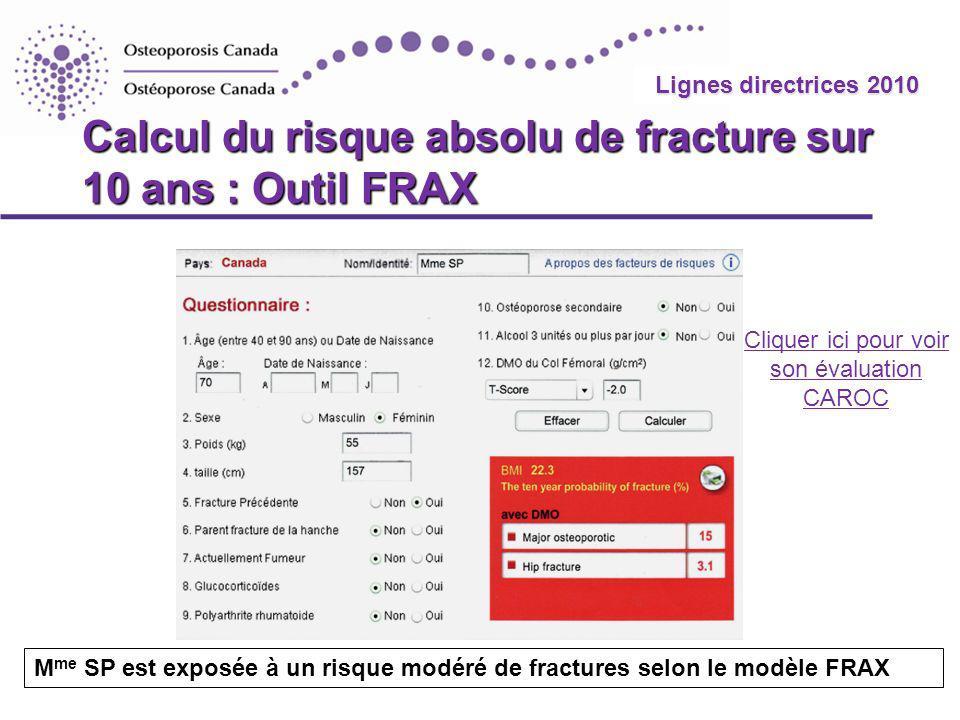 Calcul du risque absolu de fracture sur 10 ans : Outil FRAX