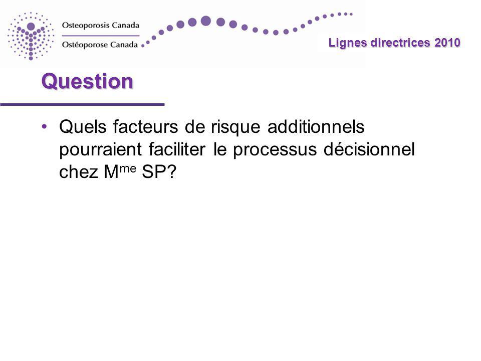 Question Quels facteurs de risque additionnels pourraient faciliter le processus décisionnel chez Mme SP