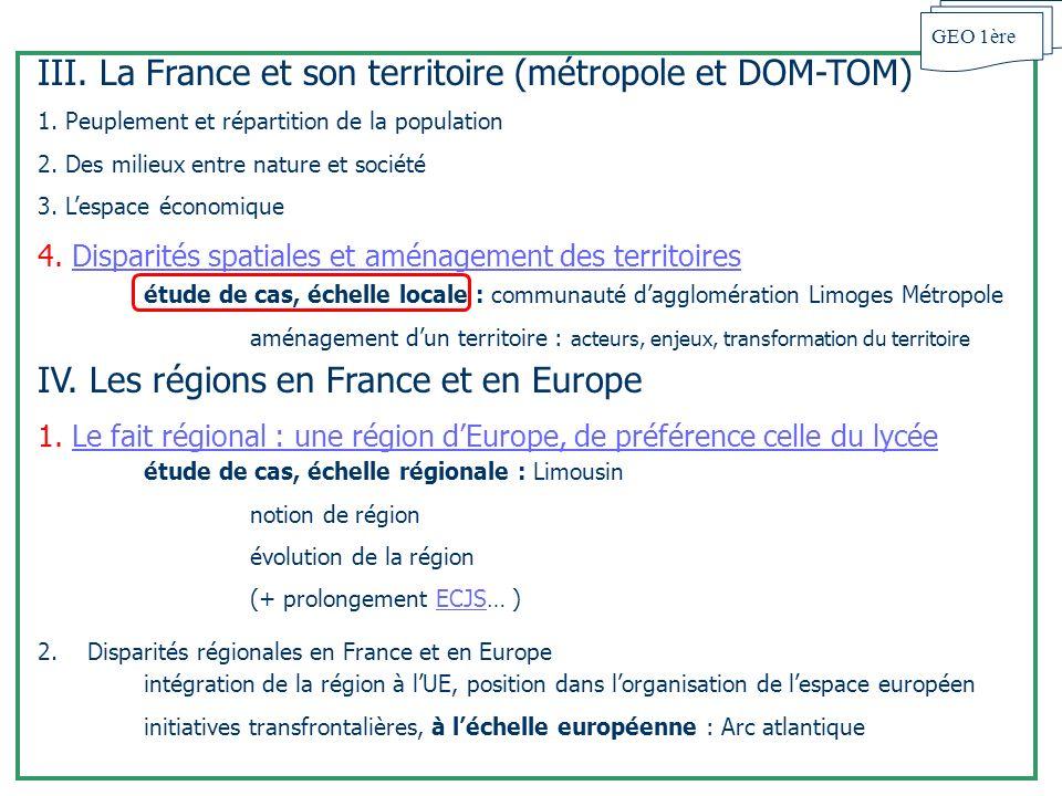 III. La France et son territoire (métropole et DOM-TOM)