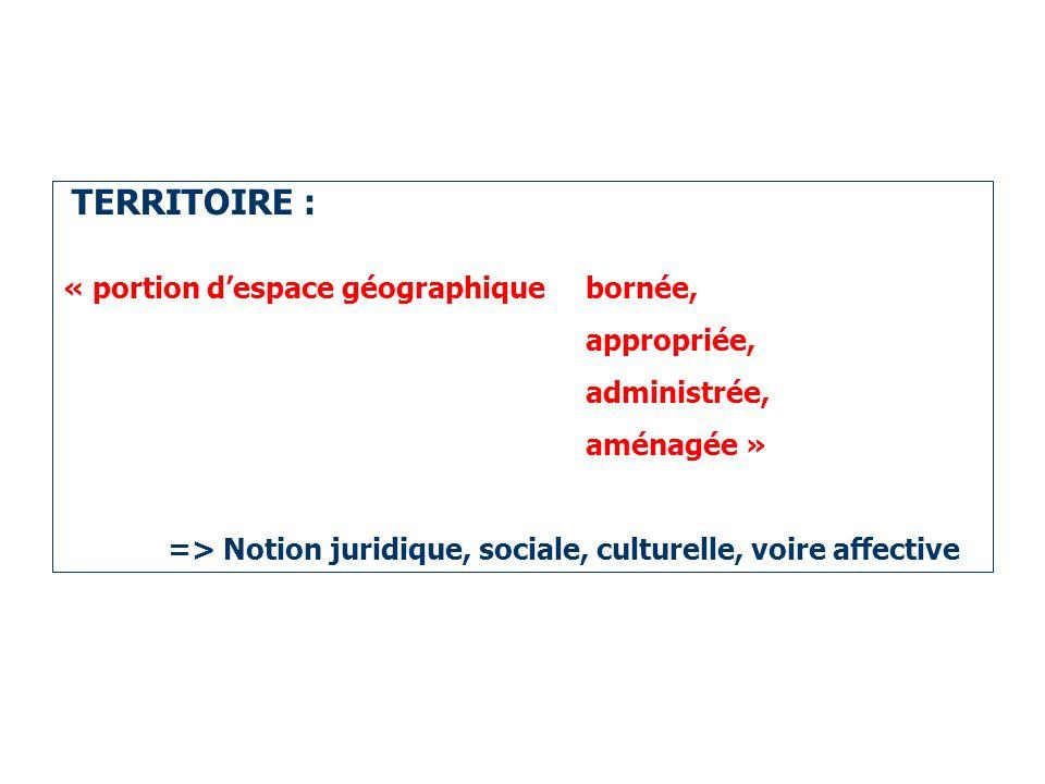 TERRITOIRE : « portion d'espace géographique bornée, appropriée,