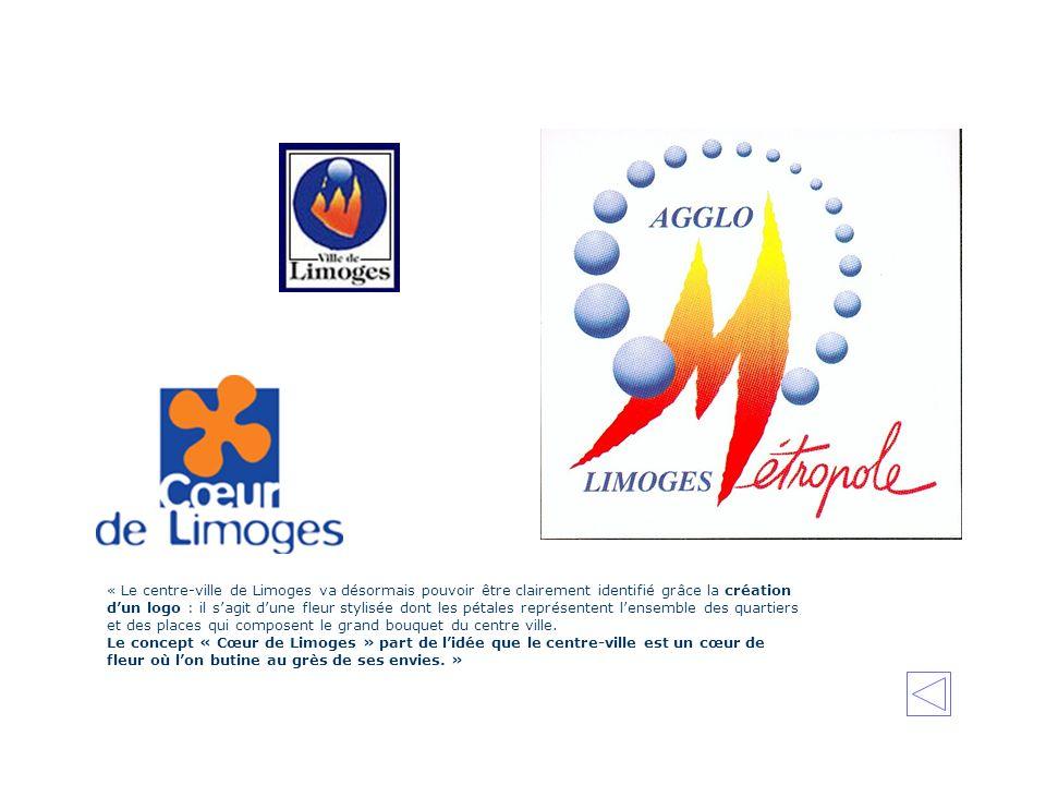 « Le centre-ville de Limoges va désormais pouvoir être clairement identifié grâce la création d'un logo : il s'agit d'une fleur stylisée dont les pétales représentent l'ensemble des quartiers et des places qui composent le grand bouquet du centre ville.