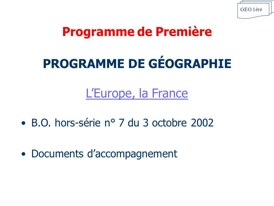 PROGRAMME DE GÉOGRAPHIE L'Europe, la France