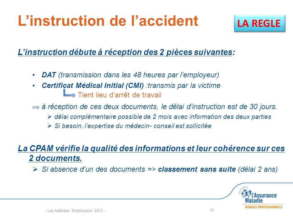 L'instruction de l'accident