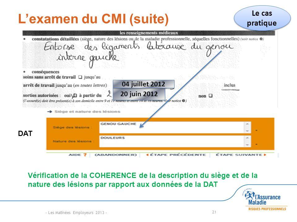 L'examen du CMI (suite)