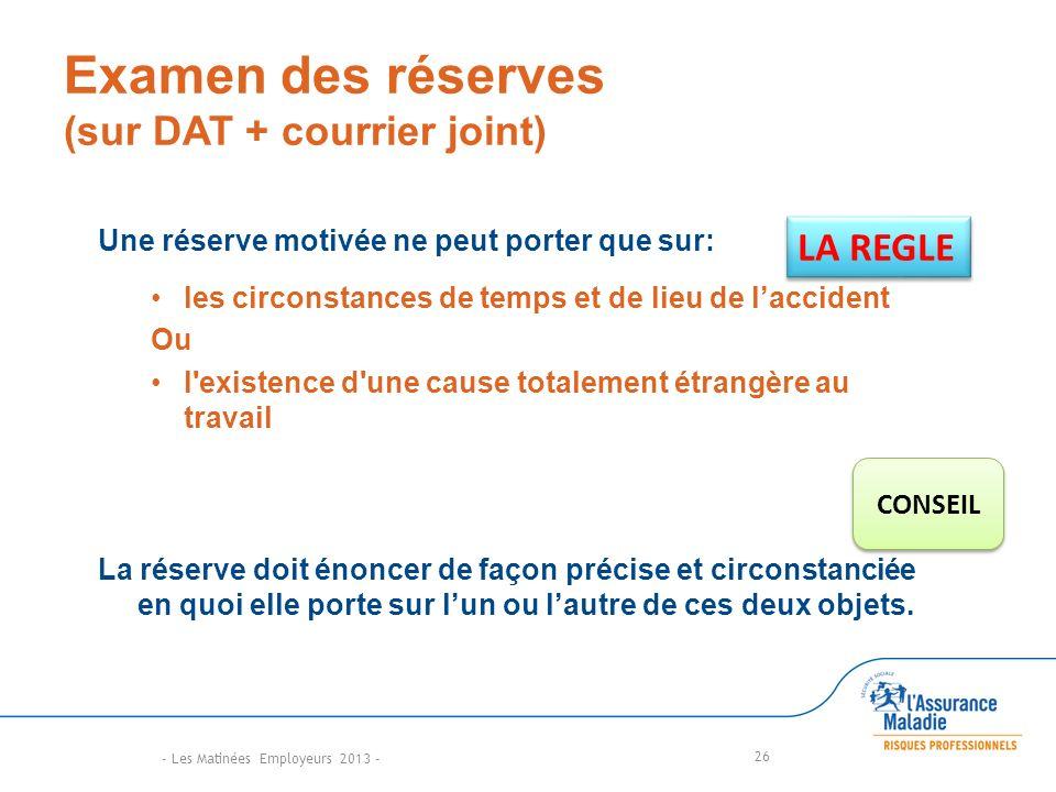 Examen des réserves (sur DAT + courrier joint)