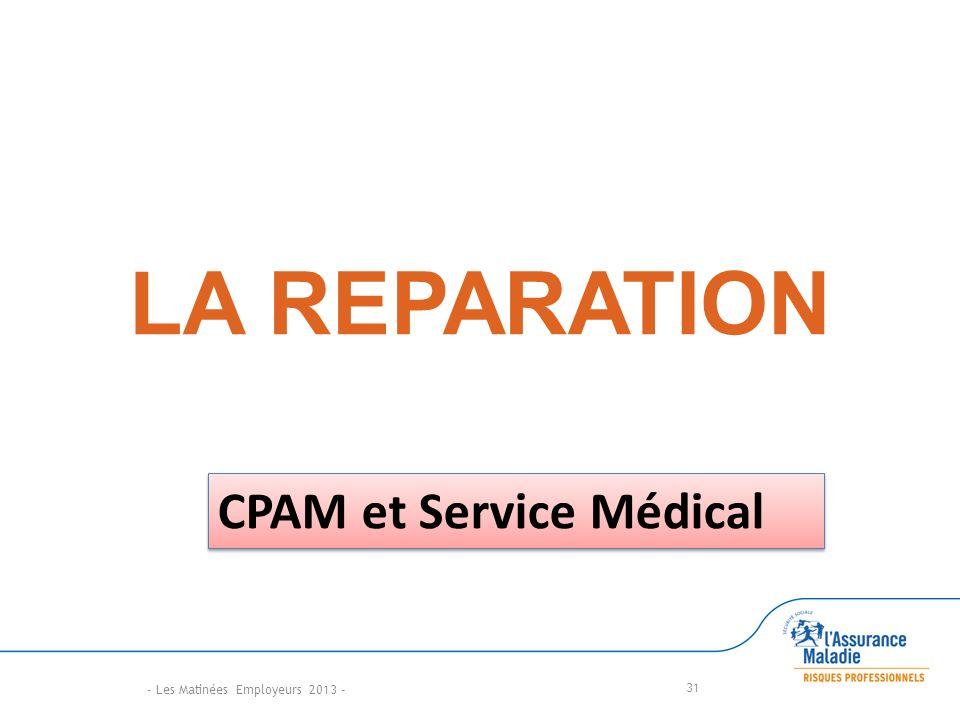 LA REPARATION CPAM et Service Médical - Les Matinées Employeurs 2013 -