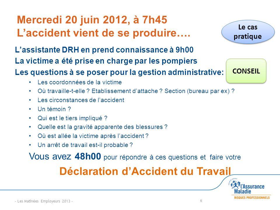 Mercredi 20 juin 2012, à 7h45 L'accident vient de se produire….