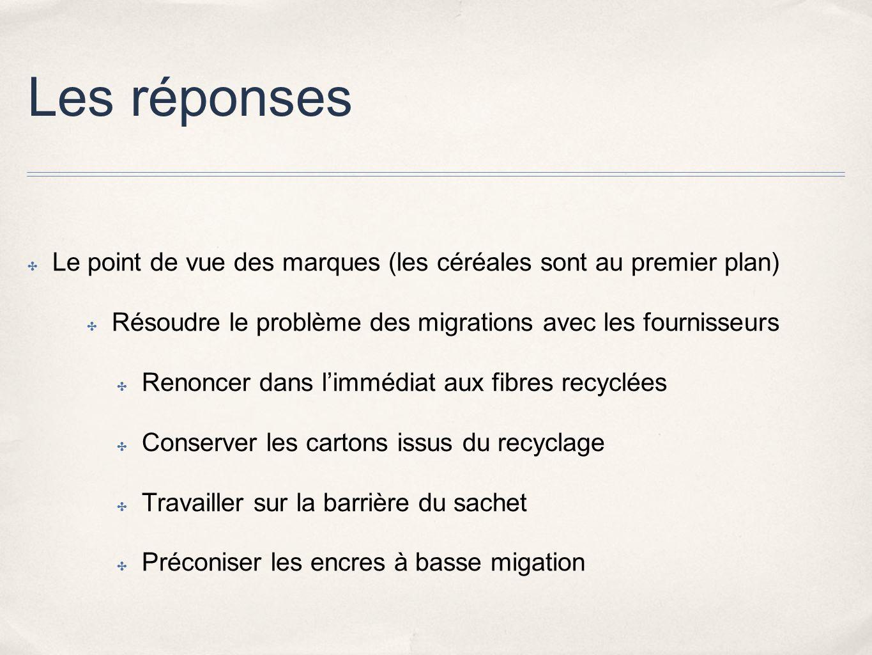 Les réponses Le point de vue des marques (les céréales sont au premier plan) Résoudre le problème des migrations avec les fournisseurs.