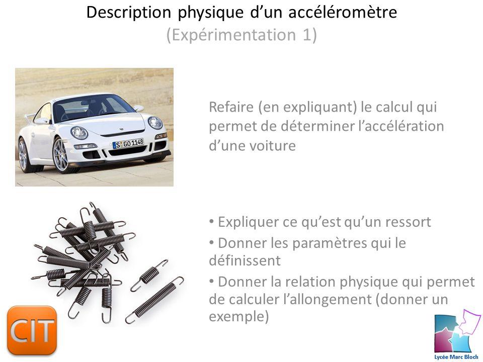 Description physique d'un accéléromètre (Expérimentation 1)