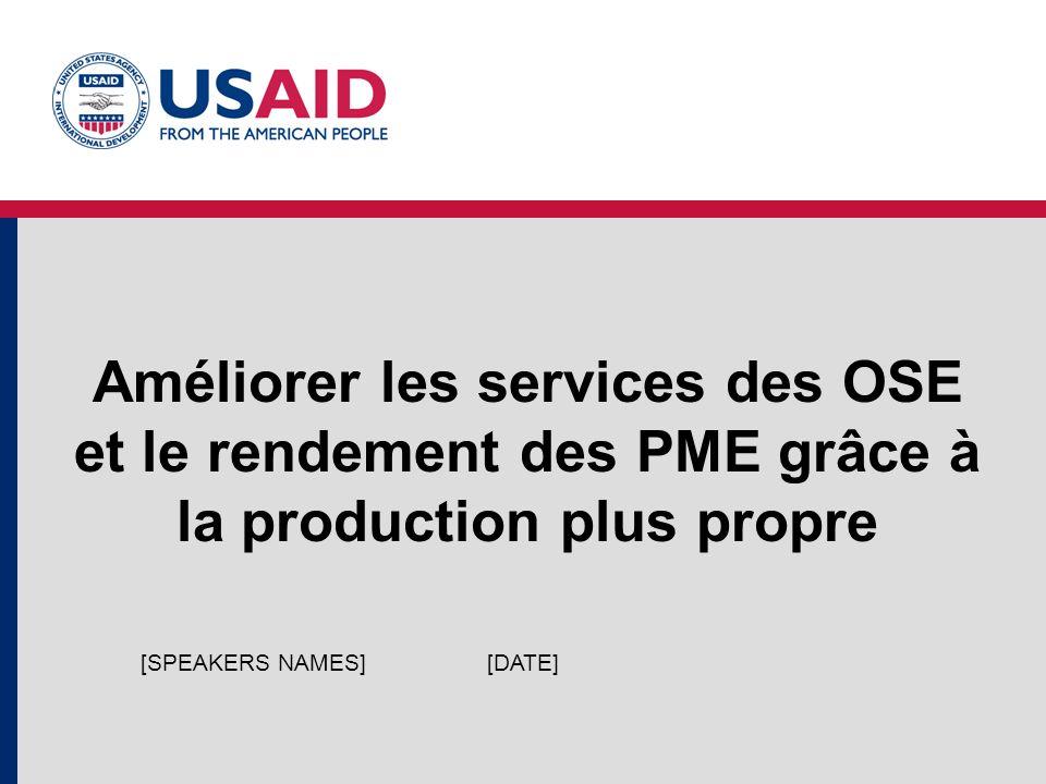 Améliorer les services des OSE et le rendement des PME grâce à la production plus propre