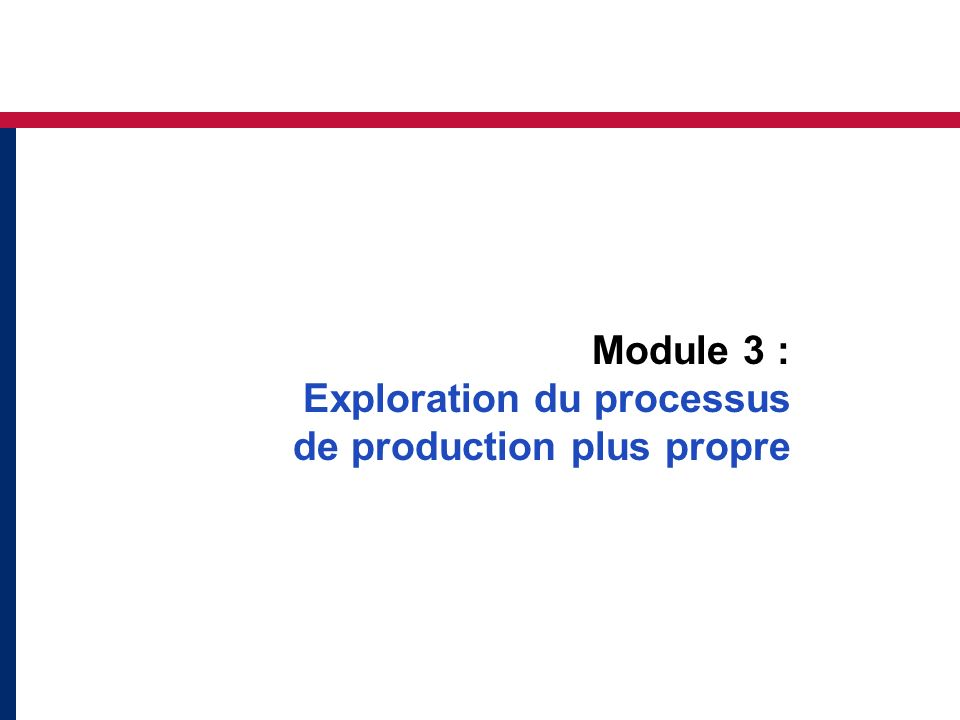 Module 3 : Exploration du processus de production plus propre