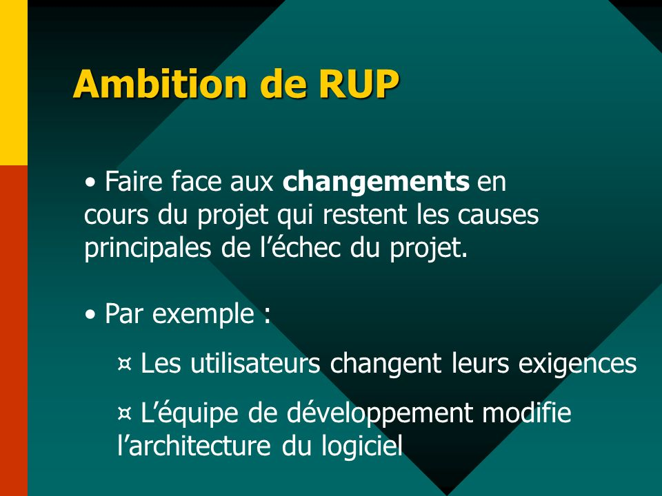 Ambition de RUP Faire face aux changements en cours du projet qui restent les causes principales de l'échec du projet.