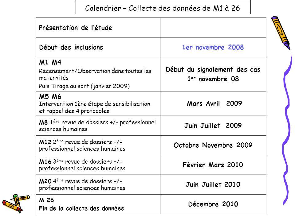 Calendrier – Collecte des données de M1 à 26