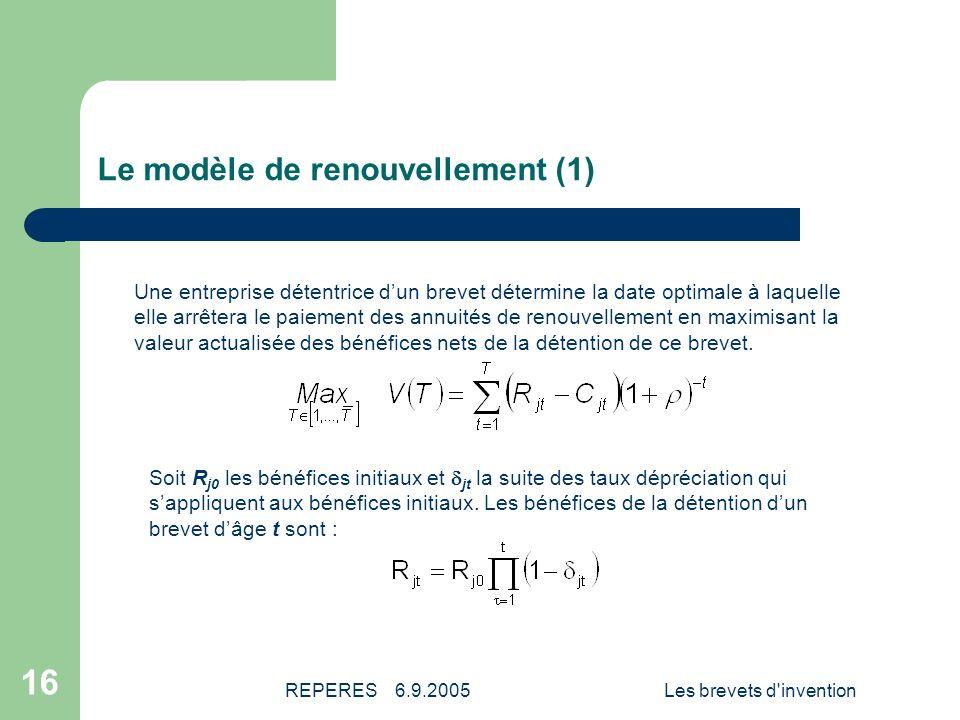 Le modèle de renouvellement (1)