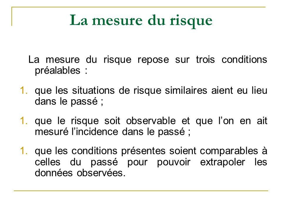 La mesure du risque La mesure du risque repose sur trois conditions préalables :